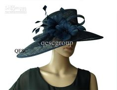 Wholesale Derby Hat - Buy Navy Blue Large Sinamay Kentucky Derby Hat with Ostrich Feather for Church Wedding Races Party.Bri