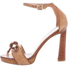 Pre-owned Dsquared? Lizard Multistrap Sandals ($95) ❤ liked on Polyvore featuring shoes, sandals, brown, ankle tie sandals, suede sandals, dsquared2 shoes, suede shoes and multi-strap sandals