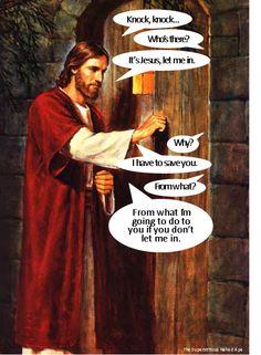 - Jesus Knocks - Geeks Under Grace Jesus Meme, Jesus Funny, Religious Humor, Atheist Humor, Funny Christian Memes, Christian Humor, Funny Christian Pictures, Stupid Funny Memes, Funny
