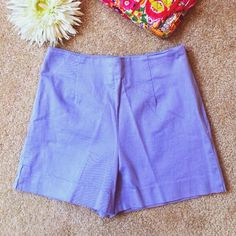 "SHARON ENDRICK ""Kate"" Lavender Stretch Shorts Sharon Endrick ""Kate"" High Waist Lavender Stretch Shorts with side zipper and outside hem slits. 97% Cotton 3% Spandex. INSEAM 4"" RISE 11"" WAIST 25"". Worn once. Like New Condition. Sharon Endrick Shorts"