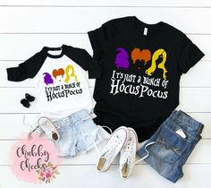 05fcc82a1 Mom and kids it's just a bunch of hocus pocus raglan-sanderson sisters- Halloween  tee- hocus pocus- kids clothing- adult tee-hocus pocus set