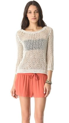 Enza Costa Loose Knit Pullover Length: 19in / 48cm, from shoulder