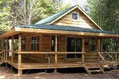 Cabins And Cottages: Wraparound Cabin - Possibility. dont care for the round poles and want metal roof. Tiny Cabins, Tiny House Cabin, Log Cabin Homes, Cabins And Cottages, Log Cabins, Country Cottages, Mountain Cabins, House Deck, Loft House