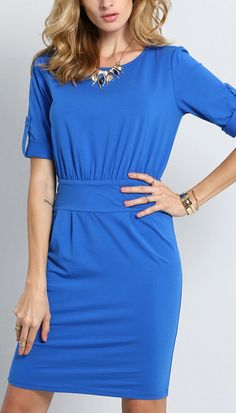 This blue means business! Love the half sleeve belt on this dress too!