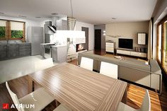 Tani w budowie dom parterowy z dwuspadowym dachem. Village House Design, Village Houses, Weekend House, My House, House Plans, Sweet Home, Kitchen Cabinets, Table, Furniture