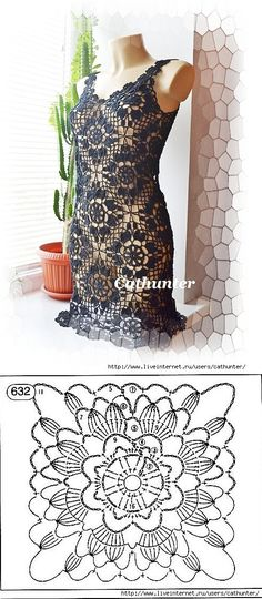 Fabulous Crochet a Little Black Crochet Dress Ideas. Georgeous Crochet a Little Black Crochet Dress Ideas. Crochet Motifs, Crochet Diagram, Crochet Chart, Crochet Squares, Crochet Stitches, Crochet Patterns, Dress Patterns, Granny Squares, Black Crochet Dress