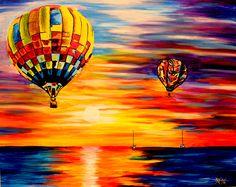 Balloon Sunrise - Acrylic on canvas board (Sold)