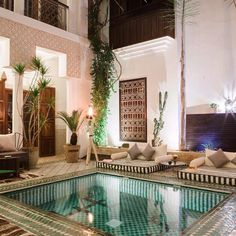 If you are looking for an indoor swimming pool, Starline has the finest models to suit all interior styles. Read more about the possibilities offered by our swimming pools. Le Riad, Riad Marrakech, Indoor Swimming Pools, Swimming Pool Designs, Patio Interior, Interior And Exterior, Outdoor Pool, Outdoor Spaces, Courtyard Pool