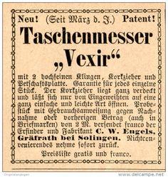 Original-Werbung/Inserat/ Anzeige 1892: TASCHENMESSER VEXIR / ENGELS GRÄFRATH  Ca. 45 X 50 Mm - Werbung
