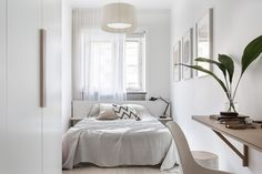 All white small bedroom interior design ideas. Minimal style home. Home decor. Small Bedroom Furniture, Home Decor Bedroom, Narrow Bedroom Ideas, Bedroom Table, Bedroom Plants, Brown Furniture, Design Bedroom, Furniture Sets, Urban Outfitters Bedroom