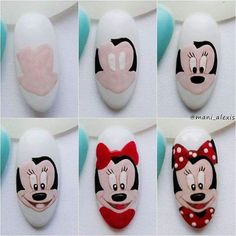 Trendy Nails Art Disney Step By Step Ideas Trendy Nail Art, New Nail Art, Cute Nail Art, Cute Nails, Animal Nail Designs, Nail Art Designs, Christmas Nail Designs, Christmas Nail Art, Nail Art Disney