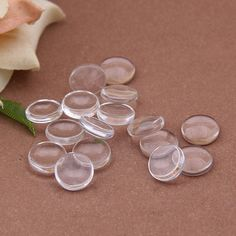 100pcs 20mm Clear Glass Transparent Clear Oblate by rosediy2015