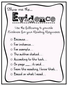 Finding evidence sentence starters