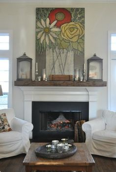 35 Ideas painting wood mantle family rooms for 2019 White Fireplace, Fireplace Mantle, Fireplace Surrounds, Fireplace Design, Mantle Art, Fireplace Facing, Fireplace Ideas, Coastal Living Rooms, Home And Living