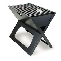 The X-Grill is a folding portable charcoal BBQ grill with a slim line design that can be carried in a tote.