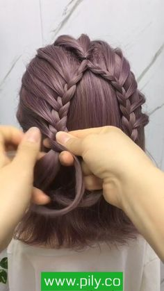Hairdo For Long Hair, Braids For Short Hair, Easy Hairstyles For Long Hair, Braided Hairstyles, Front Hair Styles, Short Hair Styles Easy, Short Hair Hacks, Hair Style Vedio, Girl Hair Dos