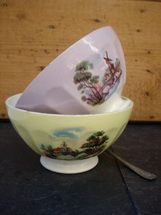 Vintage two french cafe au lait bowls embossed with by sissidavril, $45.00