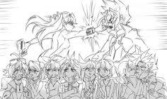 Ray, Zarc, Yuya, Yuzu, Serena, Yuri, Yugo, Rin, Ruri and Yuto