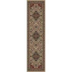 Concord Global Dynasty Ivory Rectangular Indoor Woven Oriental Runner (Common: 2 X 8; Actual: 2-Ft W X 7.58-Ft L X 2-Ft