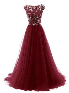 143.89 USD Burgundy Floor Length Beaded Embellished Prom Dress Featuring