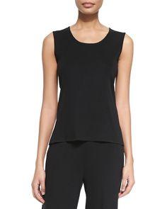 Scoop-Neck Knit Tank, Black, Petite, Women's, Size: PL (14/16) - Misook