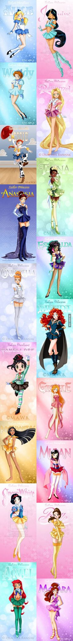 Disney heroines re-imagined as Sailor Moon characters