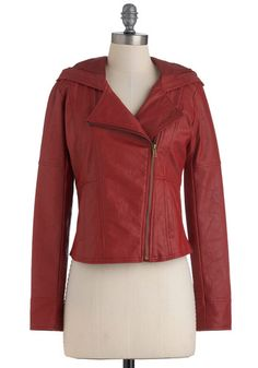 Hit the Bricks Jacket in Red, #ModCloth  My first Modcloth purchase. Always wanted a red leather jacket. :)