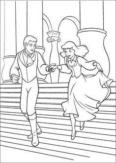 Cinderella meets her prince at the Ball These princess coloring