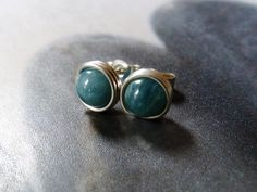 Apatite post earrings wire wrapped in Sterling silver by Mirma