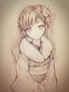 ✮ ANIME ART ✮ anime girl. . .kimono. . .traditional wear. . .furisode. . .hair decoration. . .smile. . .drawing. . .pencil. . .graphite. . .cute. . .kawaii
