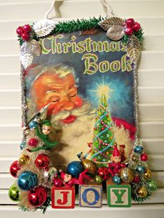 Vintage Book Cover Christmas Wall Decoration by dimestorechic