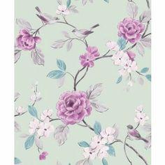 More Daughter bedroom wallpaper idea's.   £13 Lara Mint Wallpaper from Homebase.co.uk
