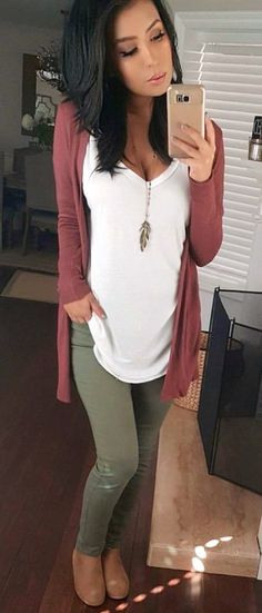 #winter #outfits woman's maroon cardigan #cardiganfall
