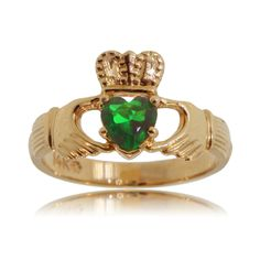 Meaningful Emerald Claddaugh Celtic Ring in Solid 14 Karat Yellow Gold