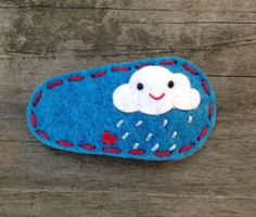 Little Rain Cloud Wool Felt Hair Clip by sundropclips on Etsy, $6.00
