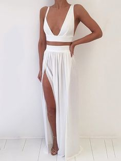 Sexy Low Cut Cropped High Slit Skirt Sets