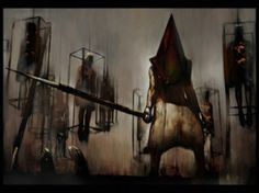 Pyramid Head, the punisher from Silent Hill 2 - the best psychological horror game in history. Silent Hill 2, Pyramid Head, Red Pyramid, Creepy Games, Misty Day, Psychological Horror, Creature Feature, Sunderland, Monsters