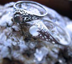 Tiny White Grey Catseye Moonstone Handmade by GriffinsNestJewelry