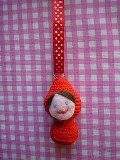 Crochet little red riding hood keychain
