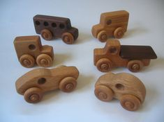 Handcrafted 6 Vehicle Set by PurcellToys on Etsy
