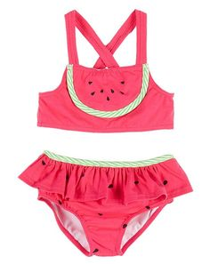Le Top Pink Lime WATERMELON CUTIE Skirted Swimsuit TODDLER Girls 2T-4T