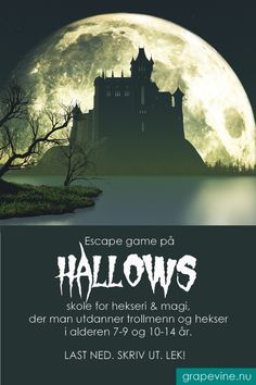 Escape game: Hallows skole for hekseri & magi år Halloween Make, Halloween 2019, Organizing Important Papers, Escape The Classroom, Tv Wall Design, Escape Room, Grape Vines, Escape Games, Photo And Video