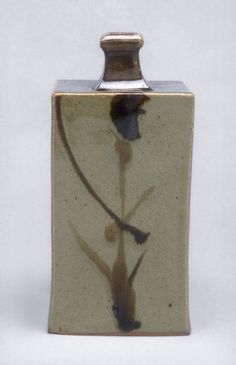 Rectangular bottle, Showa period (1926–89), ca. 1960 Hamada Shoji (Japanese, 1894–1978) Produced in Mashiko, Tochigi Prefecture Stoneware with underglaze iron decoration