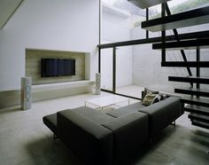 Architecture, Lovely Modern Mejiro House By MDS Architectural Studio In Tokyo Featuring Interior Design With Living Room Furniture And Black Staircase: Awesome Minimalist modern house called Mejiro House in Japan