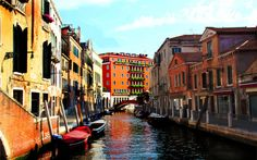 Download wallpapers Venice, Italy, streets, canal, boats, old houses