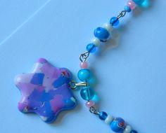 Detaliu - Colectia arabescuri de culoare - acuarela albastra - Colier si cercei 8