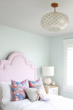 A girl& room full of muted colors and delicate details. Blue Girls Rooms, Girls Room Paint, Bedroom Paint Colors, Little Girl Rooms, Wall Colors, Girls Bedroom, Bedroom Ideas, Bedroom Inspiration, Kid Bedrooms