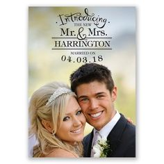 Marriage Telegram - Wedding Announcement Postcards in Dark Gray or ...