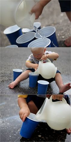Toddler Life Skills Practice Pouring Water by handsonaswegrow: Take it outside until they become more precise. #Toddlers #Life_Skills #Water