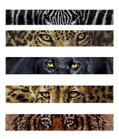 Beaded Zebra, Jaguar, Black Panther, Cheetah, Tiger Eyes Peyote Bracelets Pattern by Lynn Cassels-Caldwell at Bead-Patterns.com